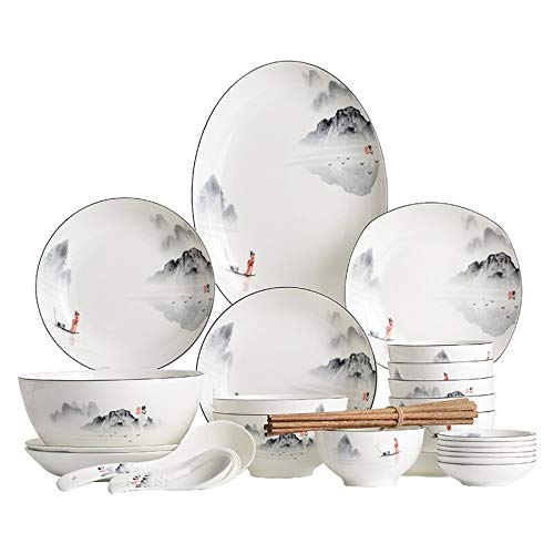 WDSWBEH Juegos de vajilla, platos de porcelana, platos de cena de estilo chino y cuencos en esmaltado, servicio seguro de vajilla de microondas para 6/8/10/12