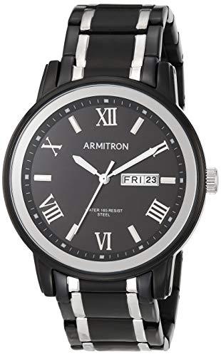 Armitron Men's 20/4935BKTB Day/Date Function Black and Silver-Tone Bracelet Watch