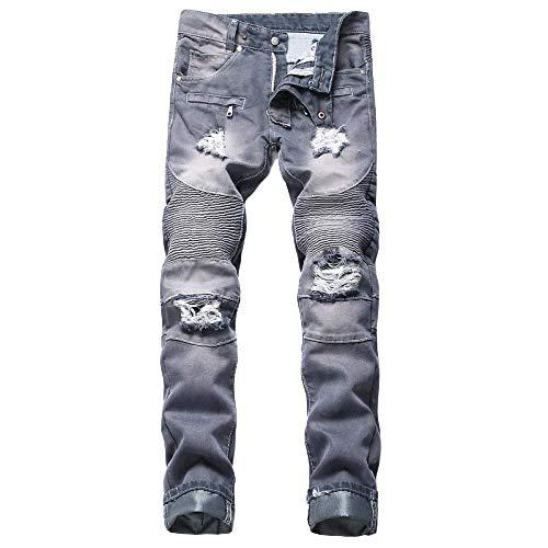 nobranded Jeans de Hombre Cross Locomotora con Agujero nostálgico Recto Plisado Pantalones Casuales Europeos y Americanos de Gran tamaño