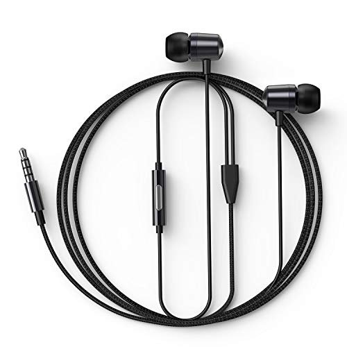 in Ear Headphones Wired Earbud with Line-in Microphone Heavy Bass Dynamic Driver Earphones with Non Tangle Fabric Braid for Running Gym Android Phones Music Player Dark Chrome N4