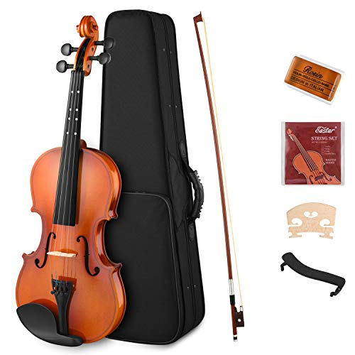 Eastar 1/4 Violin Set Fiddle Quarter Size EVA-2 for Kids Beginners Students with Hard Case, Rosin, Shoulder Rest, Bow, and Extra Strings (Imprinted Finger Guide on Fingerboard)