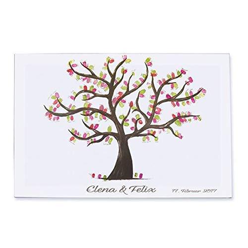 Handgemalter Fingerabdruck Hochzeitsbaum personalisiert Druck auf Leinwand + gebunden auf einem Keilrahmen Gästebuch Wedding Tree Hochzeitsspiel Hochzeitsgästebuch 60x40 cm