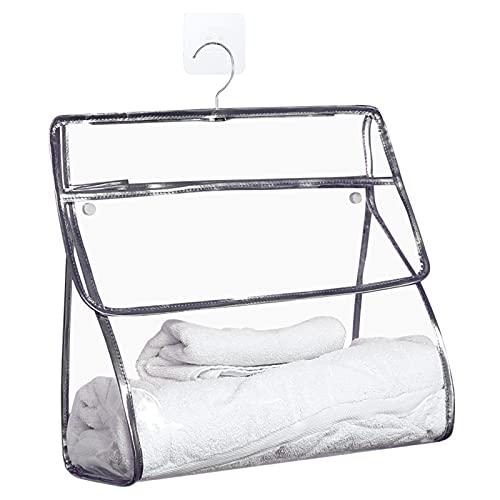 Trousse de toilette transparente en TPU à suspendre, organiseur pour femme avec crochet, sac de rangement pour salle de bain, douche, gris,