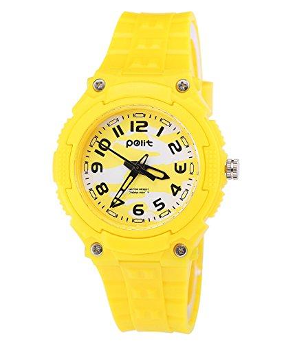Polit Kinder Armbanduhr 3 ATM Wasserdichte Kinderuhr Mädchen Jungen Uhr - Bonbonfarbe Gelb