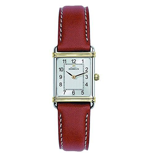 Michel Herbelin Damen Analog Quarz Uhr mit Leder Armband 17478/T22GO