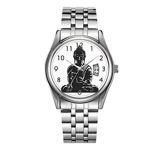 Luxuriöse Herren-Armbanduhr, 30 m wasserdicht, Datumsanzeige, Sportuhren, Quarzuhrwerk, lässig, Weihnachten, Buddha, schwarz auf weiß, Buddhismus, Frieden, Zen, Yoga, Yogi Armbanduhren