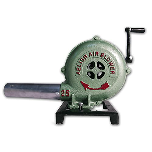 Simond Store Hand Crank Blacksmithing Forge Blower, 8 Inch Casing, Cast Aluminum Manual Blower for Farrier Blacksmith Coal Forge Firepot BBQ Outdoor Cooking Camping