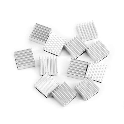 12-teilige Mini-Kühler-Kühlkörperplatine 14 x 14 x 6 mm Aluminium-Kühlrippe mit Klebstoff auf der Rückseite für Computer-Leistungs-IC