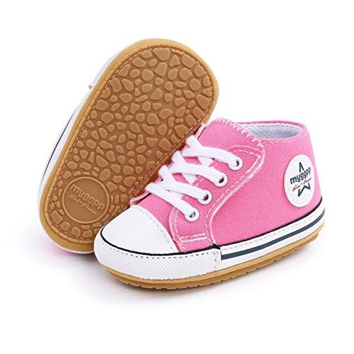 Scarpe da ginnastica per bambini, in tela, con suola morbida, antiscivolo, per primi passi, per bambini piccoli Rosa Size: 6-12 meses