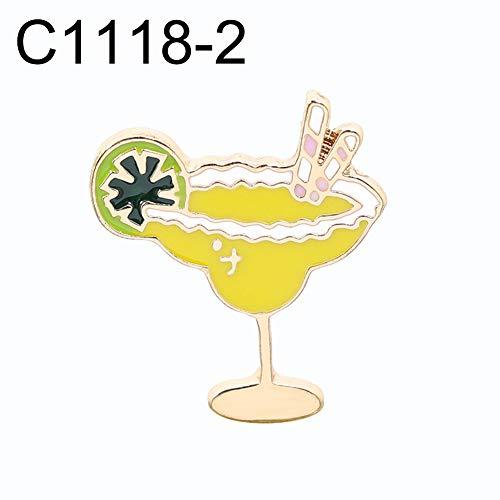 FafSgwq Unisex Coconut Tree Orangensaft Gläser EIS Emaille Brosche Pin Bag Badge Coconut Tree Cranes Brillen Brosche C1118-2