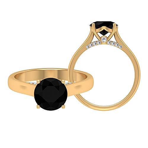 April Piedra de nacimiento — Solitario anillo redondo de 8 mm de diamante negro con moissanita 2,37 quilates, anillo de compromiso de oro macizo, 14K Oro amarillo, Size:EU 50