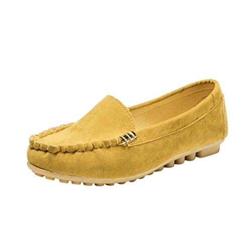 FNKDOR Damen Mokassin Slipper Halbschuhe Espadrilles Flach Schuhe (36, Gelb)