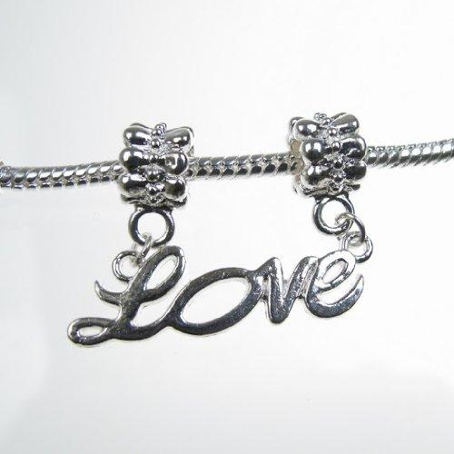 Jewellery of Lords Charm-Anhänger Doppelschrift Love silberfarben