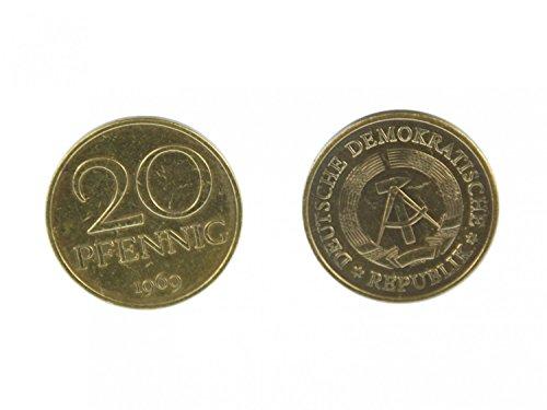 Miniblings 20 Pfennig DDR Manschettenknöpfe Münzen Manschetten 20 Pfennig Gold - Herrenschmuck Manschettenknopf Cufflinks Hemdknöpfe I Holzbox inklusive