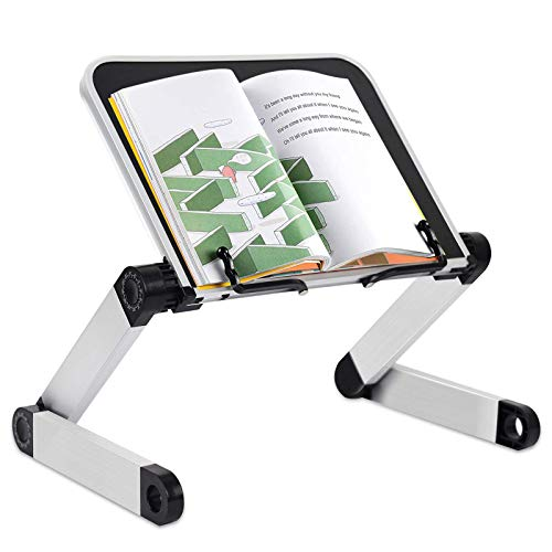 WESMART Adjustable Book Stand, Height & Angle Adjustable Aluminum Ergonomic Book Holder with Page Paper Clips for Reading Textbooks, Cookbook, Paperbacks, Hard Covers Hands Free in Bed Sofa