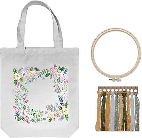 SpiceRack Kit de Bordado de Bolsa de Lona ecológica, Kits de Punto de Cruz para Adultos, Kit de Inicio de Bordado, Incluye Bolsa de Bordado con Estampado Floral, Aros de Bordado, Hilos de co