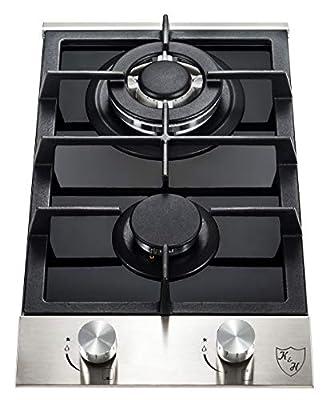 "K&H 2 Burner 12"" Built-in LPG/Propane Gas Stainless Steel/Glass Cast Iron Cooktop 2-GSSW-LPG"