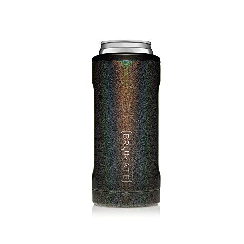 BrüMate Hopsulator Slim Double-walled Stainless Steel Insulated Can Cooler for 12 Oz Slim Cans (Glitter Charcoal)