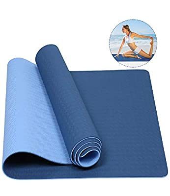 "Mersuii Yoga Mat, Eco Friendly Non Slip Fitness Exercise Mat with Carrying Strap for Yoga, Pilates and Floor Exercises - 72"" x 24"" x 1/4"" (Navy Blue and Light Blue)"