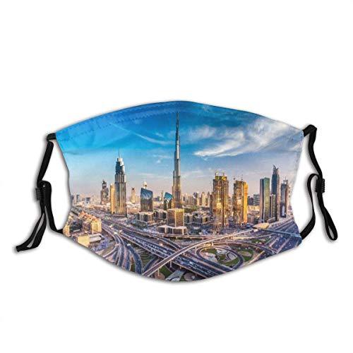 Gesichtsschal Dubai Skyline mit schöner Stadt in der Nähe der verkehrsreichsten Autobahn im Verkehr Sturmhaube Unisex Wiederverwendbarer winddichter Anti-Staub-Mund Bandanas Halsmanschette