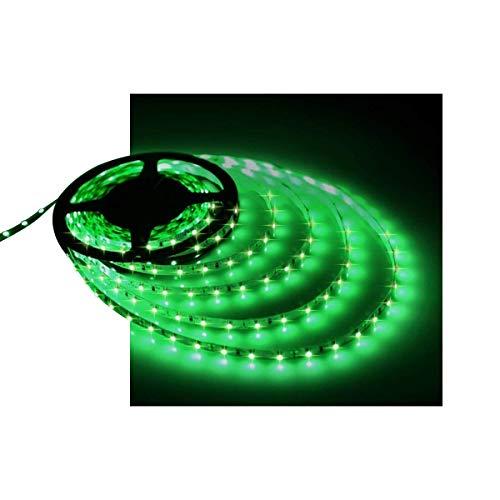 Green LED Strip Light, 16.4ft/5m 12V Waterproof Flexible Cuttable LED Tape, 300 Units 2835 LEDs Lighting String (Green, No Power Apater/Plug)