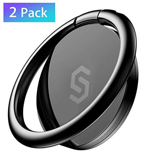 Syncwire Handy Fingerhalterung Smartphone Ring [2 Stück] Handy Ring [360 Grad Drehung] Handyring aus Metall Smartphone fingerhalten für iPhone, Samsung, Huawei, Xiaomi, LG, Sony und mehr - Schwarz