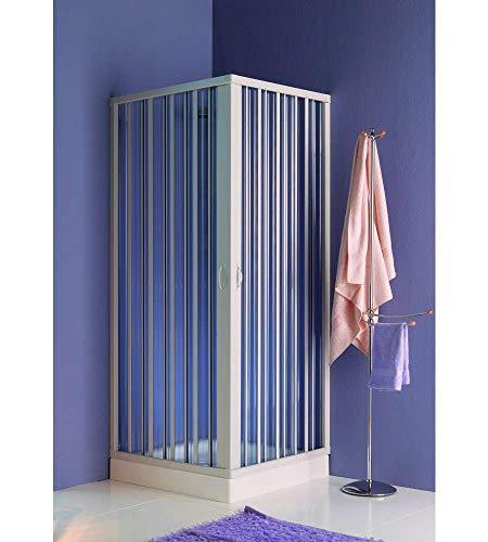 Cabina de ducha de esquina con puertas abatibles.