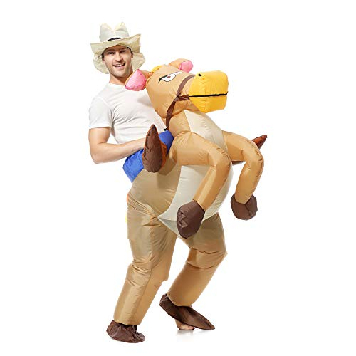 EONPOW Inflable Traje Halloween Cosplay Fiesta Fantasía Carnival Adulto Caballo Cowboy Disfraces Inflable Inflable Traje