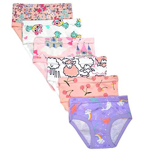 Kidear Unterwäsche für Kinder, weiche Baumwolle, für Mädchen, verschiedene Muster, 6er-Packung Gr. 3-4 Jahre/Etikettgröße- 110, Zufällig