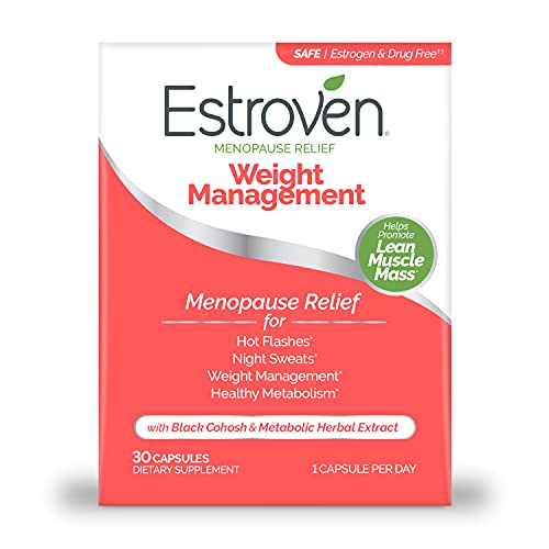 Estroven Menopause Relief + Weight Management Caps-Helps Reduce Hot Flashes & Night Sweats, Original Version, 30 Count