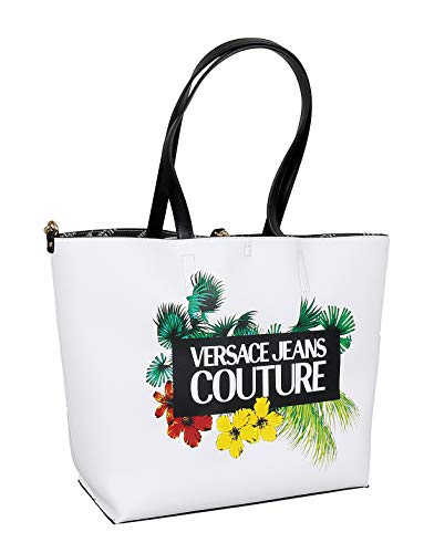 Versace Jeans Couture White Large Floral Reversible Shopper Tote Bag for womens