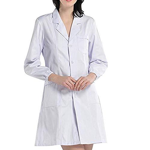 Luckycat Bata de Laboratorio Enfermera Sanitaria de Trabajo Blanca con Manga Larga para Unisex Bata de Médico Laboratorio Enfermera Sanitaria Algodón Mujer Hombre Camisa de Trabajo Blanca