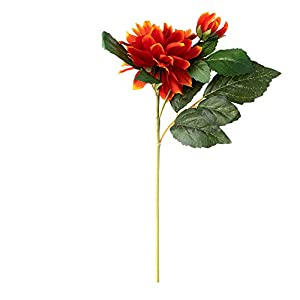 ELITE FLORAL (4 Pack) 23″ Artificial Dahlia Flowers Faux Dahlia Stem (Orange), Long Artificial Silk Flowers Realistic Fake Flowers for Wedding, Home Garden, Dining Table Decor, DIY