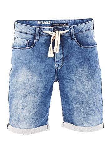 riverso - Pantalones Cortos para Hombre, Pantalones Cortos de Verano, Bermudas, elásticos, Vaqueros, algodón, Gris, Azul, Azul Oscuro, w30, w31, w32, w33, w34, w36, w38, w40, w42