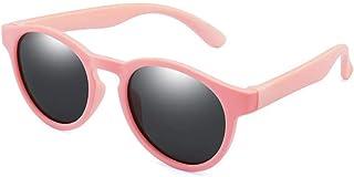 ZDW - ZDW Los hijos de las gafas de sol de moda ronda de Niños y Niñas de silicona polarizó los vidrios de los niños de la calle Gafas de tiro,03Pink-Gris