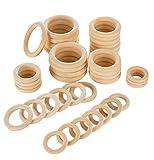 VABNEER 40 Stücke Holzring Baby Natürliche Hölzern Ringe Holzring DIY für DIY handgefertigte Dekorationen, Armband Halskette DIY Handwerk, Baby Kinderkrankheiten