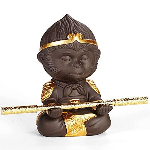 ESTone Chinese Purple Clay Monkey King Tea Pet with Cudgel Ceramic Small Teaset Statue