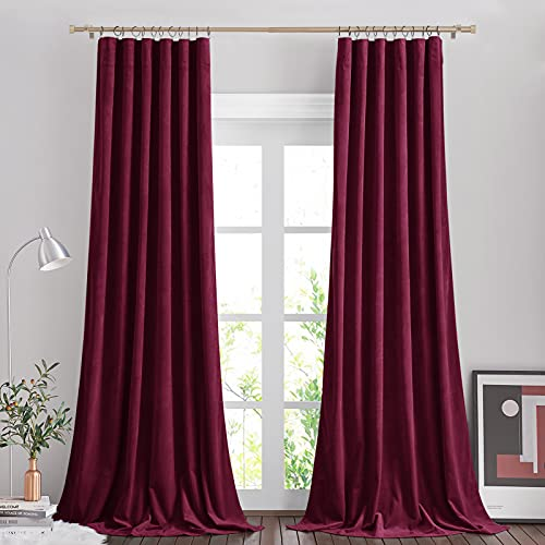 """NICETOWN Burgundy Red Velvet Curtain Panels, Room Darkening Velvet Curtains fo Sliding Glass Door, Thermal Insulated Privacy Luxury Velvet Curtains Wedding Party Home Decoration, 52"""" W x 84"""" L, 2 PCs"""