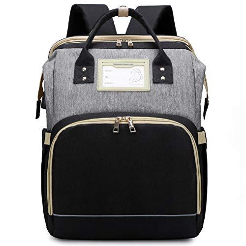 YT Bolsa de Pañales Mochila Bolsa de Pañales Multifunción con Cama Plegable y Colchón, Bolsas de Viaje para Pañales para Bebés de Gran Capacidad con Puerto de Carga USB, Impermeable,Gray Black