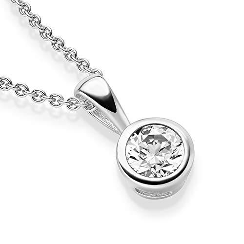 Halsketten für Frauen *GRATIS PREMIUM ETUI* Silberkette Damen 925 Kette Silber mit Anhänger Schmuck Zirkonia Damenkette schlichte klassische wie brilliant dezent Geschenkset Silberschmuck