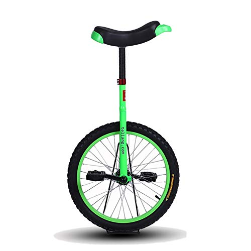 "HWF Adjustable Unicycle 14""/16""/18""/20"" Inch Green Balance Exercise Fun Bike Fitness for Kid's/Adult's, Best Birthday Gift (Color : Green, Size : 20 Inch Wheel)"