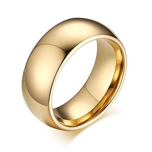 Rockyu ジュエリー ゴールド指輪 15号 メンズ ブランド タングステン リング クラシック 金色