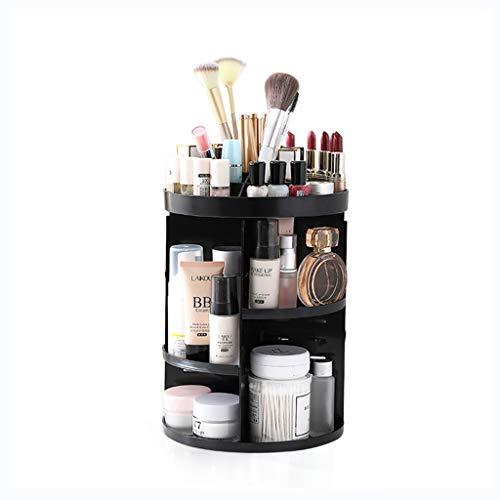 Maquillage Organisateur 360 Degrés Rotation Réglable Bijoux Et Présentoir Cosmétique 3 Couches Make Up Storage Box - Crystal Clear (Color : WHITE, Size : 23CM*23CM*34CM)
