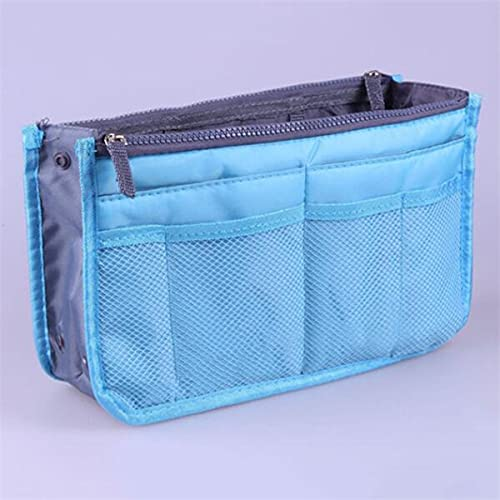 LIZHIOO Bolsas de cosméticos multifunción para Mujeres Nylon Bolsa Bolsa Bolso Kit de Belleza Maquillaje Invertir Organizador Gran Bolsa de Almacenamiento cosmético (Color : Blue)