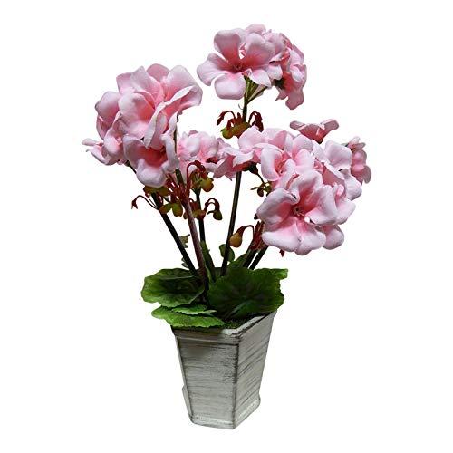 UK-Gardens–30cm–planta artificial en maceta rosa geranio flores en Shabby Chic gris moderno Pot