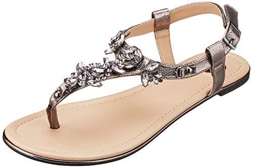 Buffalo Shoes Damen 14S07-21 Zehentrenner, Grau (Pewter 01), 39 EU