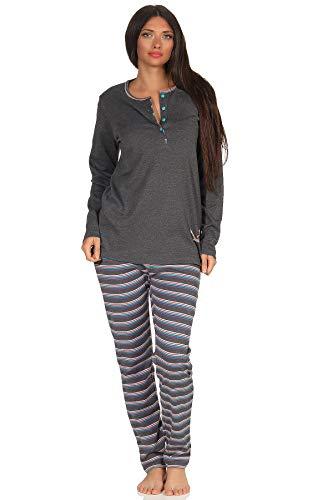 Damen Pyjama Schlafanzug, gestreifte Hose, niedliches Faultier Motiv - auch in Übergrösse, Farbe:anthrazit-Melange, Größe2:48/50