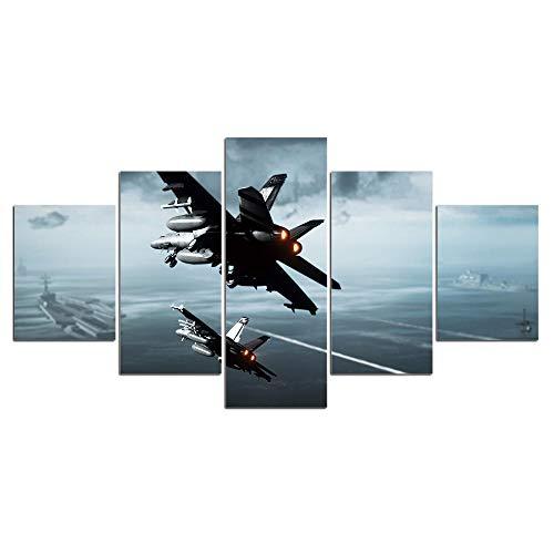 ELSFK Cuadro En Lienzo Aviones Helicópteros Guerra Lucha Impresión De 5 Piezas Material Tejido No Tejido Impresión Artística Imagen Gráfica Decor Pared 200x100cm