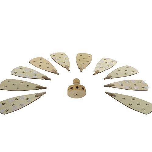 OBC-Kunsthandwerk Weihnachts-Pyramiden-Rotor mit Flügel (mit Schnee), H: 127 mm x W: 47 mm, H: 30 mm x Dia. 27 mm, Natur/weiß, handbemalt im Erzgebirgestil