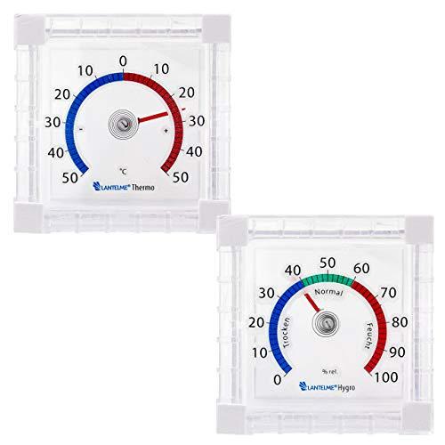 Lantelme Fenster Hygrometer Thermometer Set Selbstklebend Analog Temperatur Luftfeuchte Anzeige zum Ankleben 6445